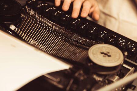 typewriter in retro style close-up Stock Photo