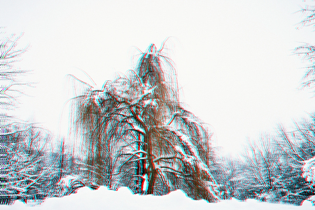 wood in the style of Anaglyph, Winter abstraction