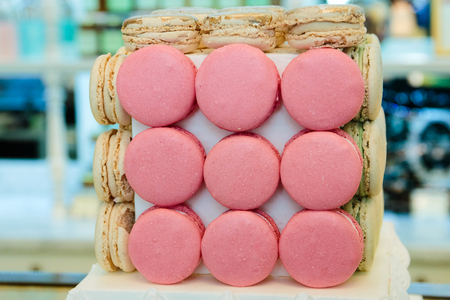 multicolored fresh macaroons, French sweets
