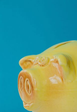 Yellow piggy Bank on a blue background. Preservation for the future of Finance, business banking and financial concept.