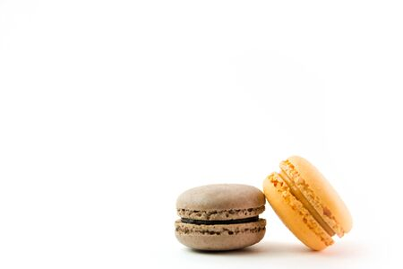 Macaroons on white background top, colorful macaroons, selective focus.