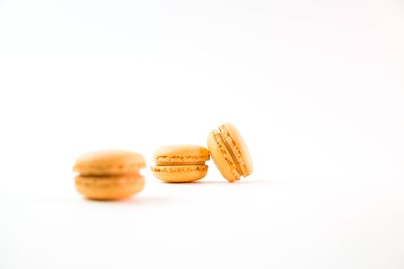Macaroons isolated on white background top, color macaroons, selective focus.