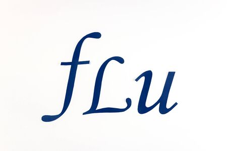 the word flu on a white background. colds, fever, complications after illness, proper treatment, medical care.