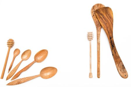 Houseware: wooden kitchen utensils, isolated on white background top view. Zero waste, eco friendly concept. Flat lay.