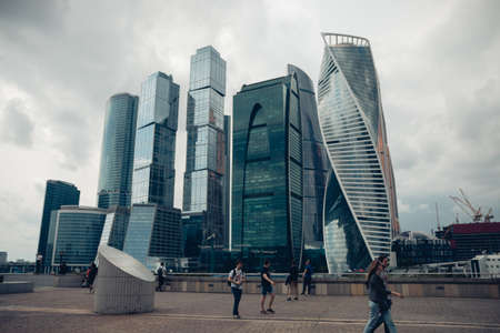 Scenic view of the skyscrapers of the Moscow city International business center, Moscow Skyline, Moscow, Russia, June 2020. 新聞圖片