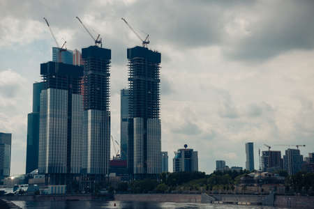 Picturesque view of the skyscrapers under construction of the Moscow city international business center, Moscow Horizon, Moscow, Russia, June 2020. 新聞圖片