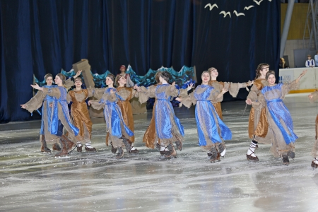 Dance on the ice, performed by group of girls