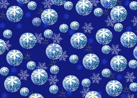 Christmas and New Year background, blue balls with a pattern of snowflakes