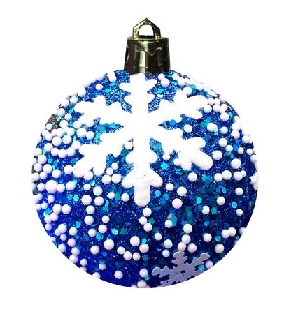 Christmas and New Years blue ball with a pattern of snowflakes on a Christmas tree. Christmas decorations.