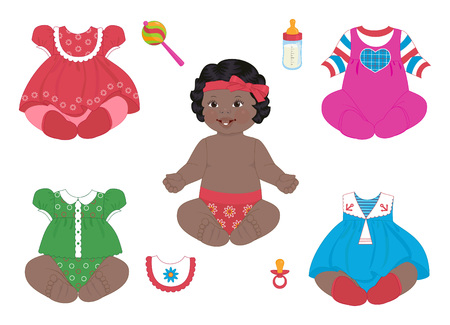 baby's bootee: African baby-girl with a set of clothes