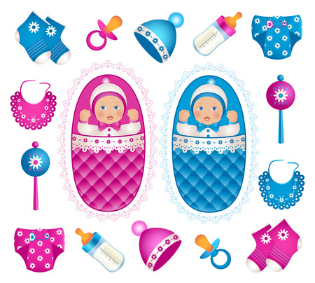 tvillingar: Illustration of cute twins with different accessories