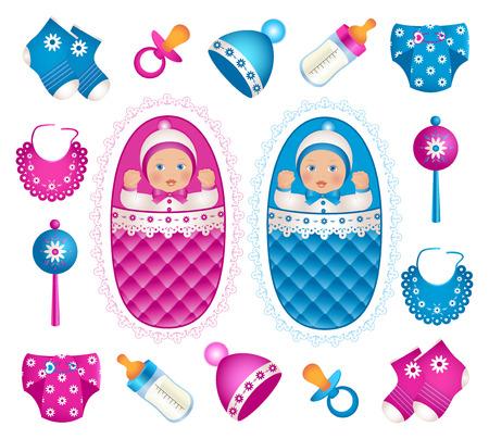 suckling: Illustrazione dei gemelli carino con diversi accessori