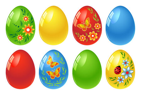 animal egg: Set of colourful Easter eggs with floral ornament