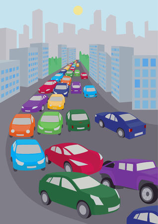 An illustration of traffic jam with  lots of colored cars.