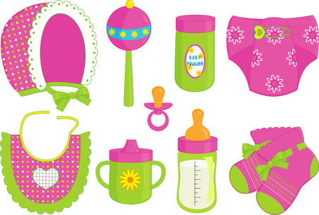an illustration of different accessories for baby girl