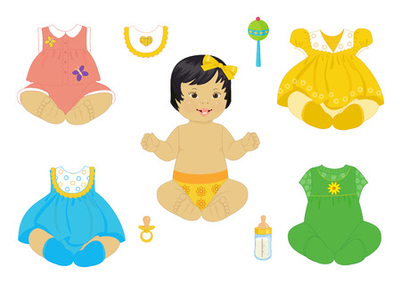 a asian baby-girl with a set of clothes Vector