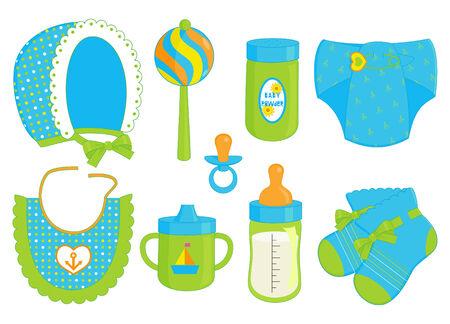 illustratie van verschillende accessoires voor babyjongen Vector Illustratie
