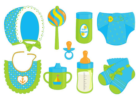 suckling: illustration of different accessories for baby boy