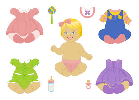 baby's bootee: blonde baby-girl with a set of clothes