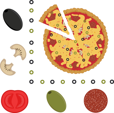 illustration of pizza and ingredients of pizza Illustration