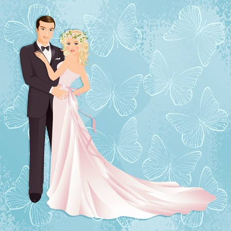 heterosexual couple: Illustration of bride and groom on blue background Illustration