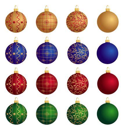 Illustration of Christmas Balls: gold, red, green, blue