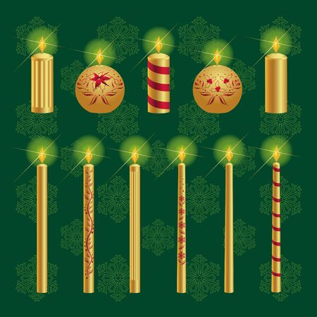 Illustration of set with different christmas candles