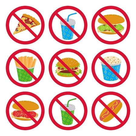 pernicious: Hay una colecci�n de se�ales de alimentos anti-fast Vectores