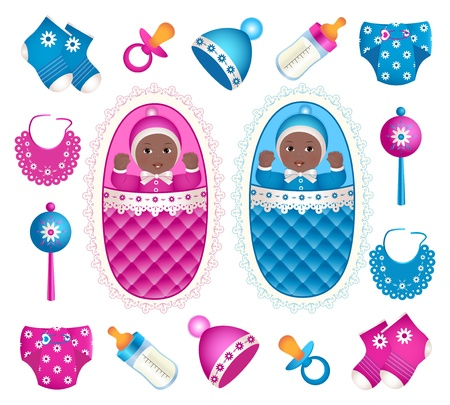 Illustration of african twins with different accessories Vector