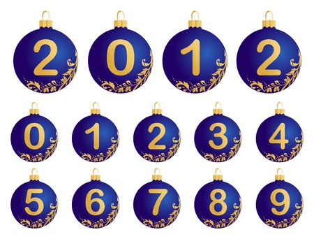 Illustration of blue Christmas Balls with numerals 0-9