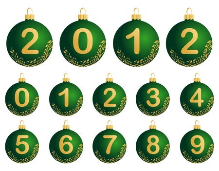 Illustration of green Christmas Balls with numerals 0-9
