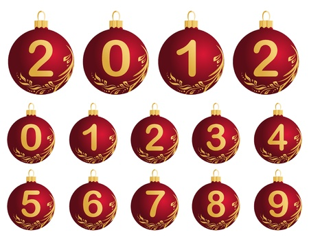 Illustration of red Christmas Balls with numerals 0-9