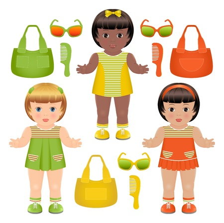 computer accessory: Set of three girls dolls with different bags, hairbrushes and sunglasses