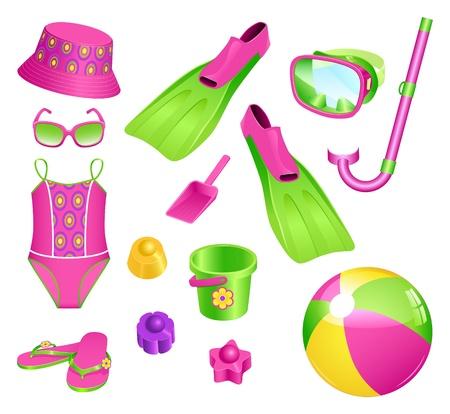 snorkel: Kleurrijke set van strand accessoires voor meisje