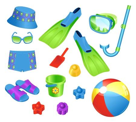 snorkel: Kleurrijke set van strand accessoires voor boy Stock Illustratie