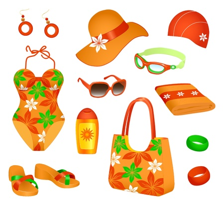 Colorful set of  beach accessories for woman Vector