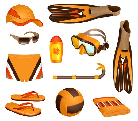 personal accessory: Colorful set of  beach accessories for man Illustration
