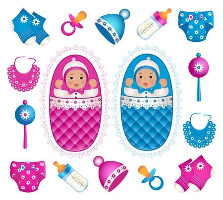 suckling: Illustrazione di asian gemelli con diversi accessori Vettoriali