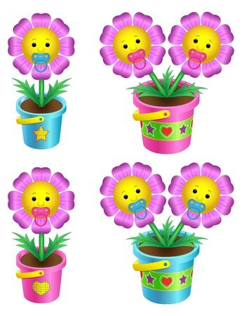 Set of cartoon flowers in a flowerpot Illustration