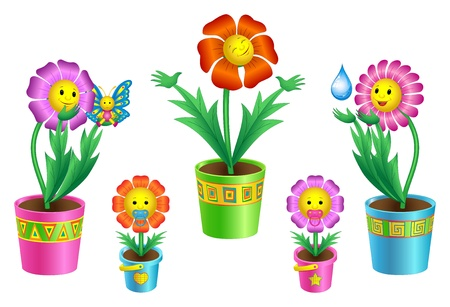 llustration of colorful cartoon flowers in flowerpots