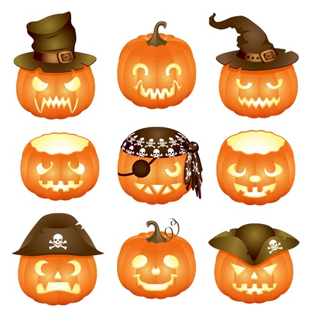 witch face: Set of Halloween pumpkins