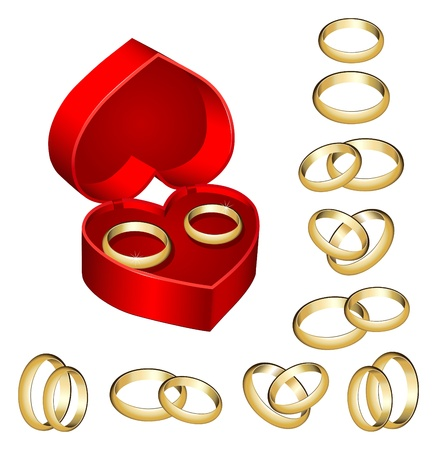 Collection of gold wedding rings with heart-shaped box on white background Illustration
