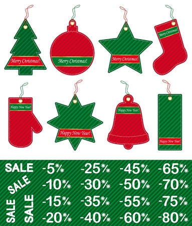 Christmas and New Year price tags Vector