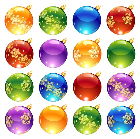 Collection of bright Christmas balls: yellow, red, green, blue, purple Illustration