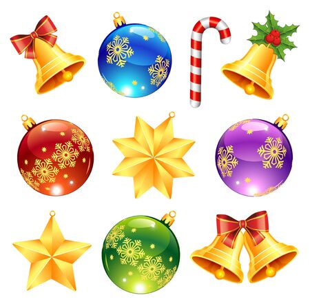 Collection of bright Christmas decorations: Christmas balls, bells, stars, candy