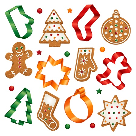 Collection of Christmas gingerbread cookies and Christmas cookie cutters Illustration