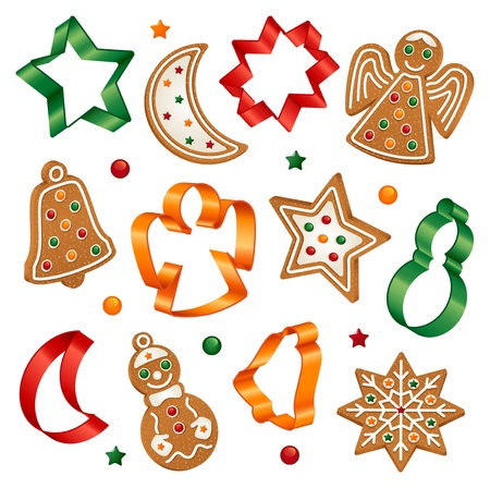 sugar cookies: Christmas cookies and cookie cutters Illustration