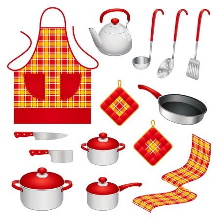 utencilios de cocina: Conjunto de diferentes utensilios de cocina de colores y accesorios