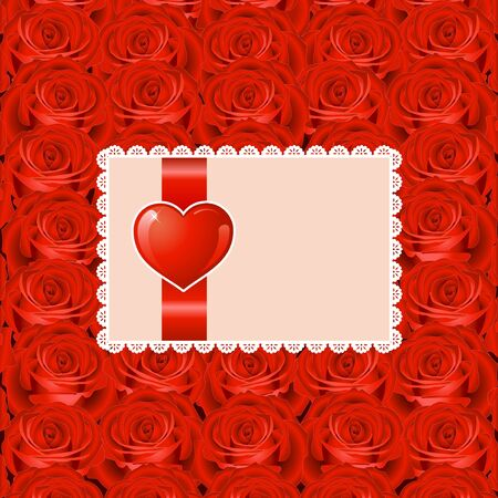 Valentines day background with heart and roses