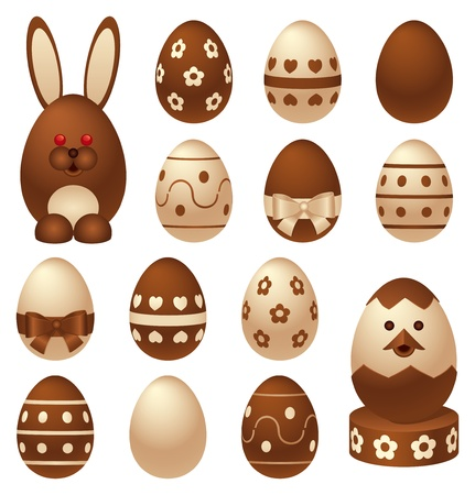 Set of chocolate Easter figures and eggs Vector